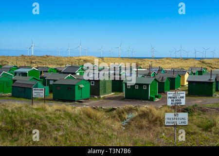 Notice South Gare Fisherman's Huts Association at Teesmouth, Redcar England UK England UK - Stock Image