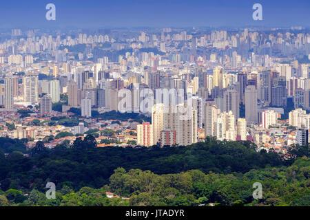 View of Sao Paulo city from the Serra da Cantareira State Park, Sao Paulo, Brazil - Stock Image