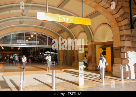 Central station in Sydney and entry to concourse,Sydney,Australia - Stock Image