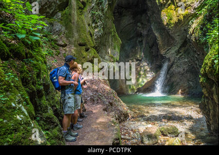 The waterfall Gorg D'Abiss at Tiarno Di Sotto, Italy. - Stock Image
