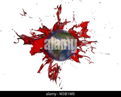 red oil splash covering the earth. suitable for fuel, oil, enery and future themes. 3d illustration - Stock Image