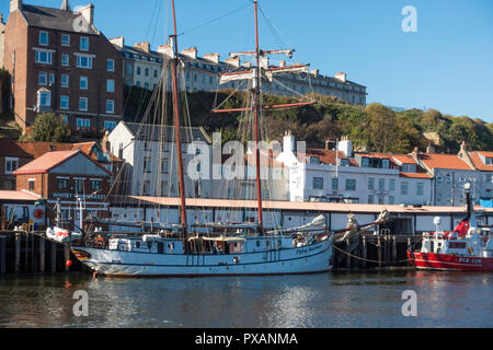 The Flying Dutchman a former Dutch fishing vessel now used for cruising moored at Whitby North Yorkshire England - Stock Image