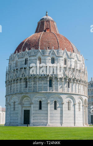 Pisa, the baptistery in the Piazza Dei Miracoli field - Stock Image