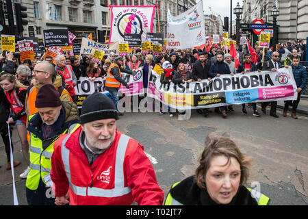 London, UK. 16th March, 2019. Thousands of people march through central London on the March Against Racism demonstration on UN Anti-Racism Day against a background of increasing far-right activism around the world and a terror attack yesterday on two mosques in New Zealand by a far-right extremist which left 49 people dead and another 48 injured. Credit: Mark Kerrison/Alamy Live News - Stock Image