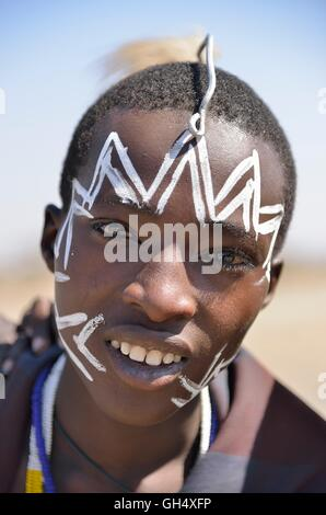 geography / travel, Tanzania, young one Maasai warrior, Ndema, Ngorongoro Conservation Area, Additional-Rights-Clearance - Stock Image