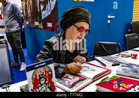 Turin, Italy. 09th May, 2019. Italy Piedmont Turin Lingotto -  International Book Fair in Turin - Comic book illustrator Credit: Realy Easy Star/Alamy Live News - Stock Image