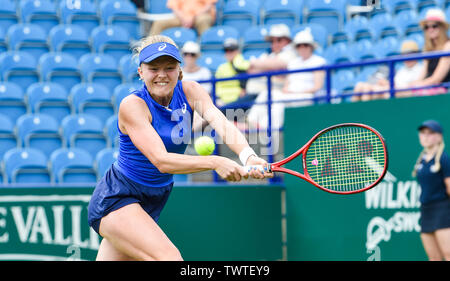 Eastbourne UK 23rd June 2019 - Harriet Dart of Great Britain plays a shot against Anett Kontaveit of Estonia during their first round match at the Nature Valley International tennis tournament held at Devonshire Park in Eastbourne . Credit : Simon Dack / TPI / Alamy Live News - Stock Image
