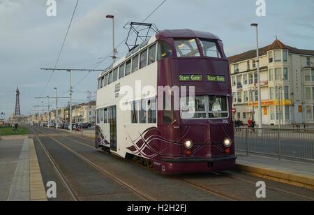 Blackpool 'Balloon' Tram No.700 on the Promenade -1 - Stock Image