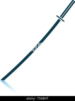 Japanese sword icon. Shadow reflection design. Vector illustration. - Stock Image