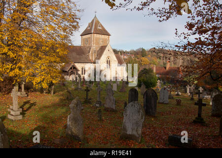 autumn colours at St Laurence church, Seale, a village near Guildford, Surrey - Stock Image