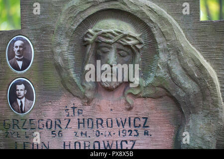 Grave statue of Jesus Christ at Powazki cemetery in Warsaw, Poland - Stock Image