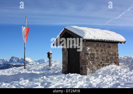 Rittner Horn / Corno del Renon, South Tyrol, Dolomite Alps in winter - Stock Image
