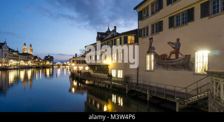 Panorama at river Limmat, Grossmunster, Zurich, Switzerland - Stock Image