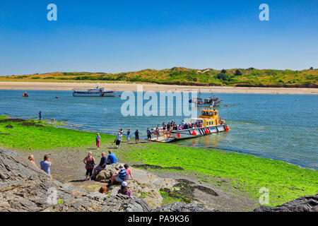 26 June 2018: Padstow, Cornwall UK - Passengers  at the Padstow to Rock Ferry, which crosses the River Camel. - Stock Image