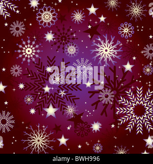 Snowflakes and stars abstract illustration background - Stock Image