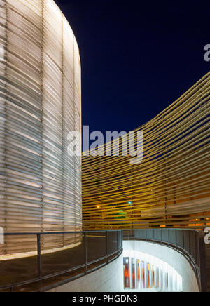 Badajoz, Spain - January 27th, 2018: Congress Center Manuel Rojas at night. Designed by Jose Selgas and Lucia Cano - Stock Image