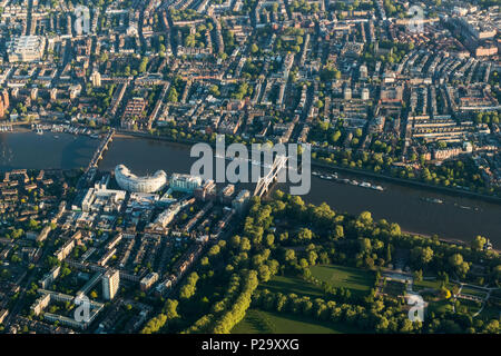 Early morning aerial view of Chelsea and Battersea Park from the South - Stock Image