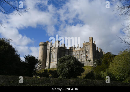 Arundel Castle in West Sussex UK  Photograph taken by Simon Dack - Stock Image