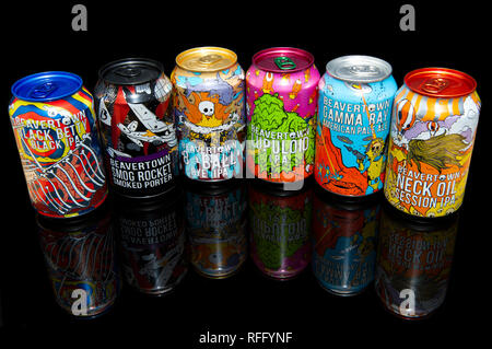 A range of six Beavertown Beer Cans - Stock Image