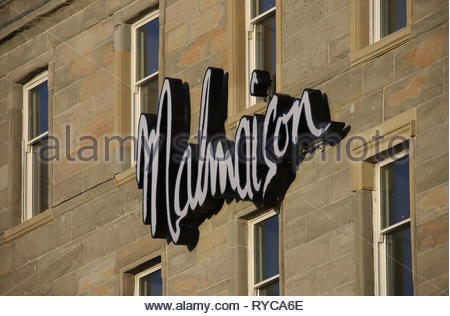 Sign of Malmaison Hotel Dundee Scotland  March 2019 - Stock Image