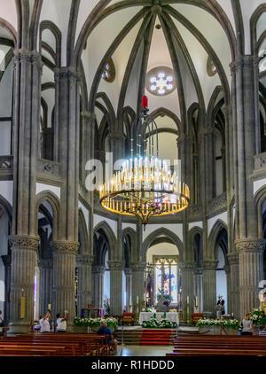 Interior of the gothic parish church of San Juan Bautista, Arucas Gran Canaria - Stock Image