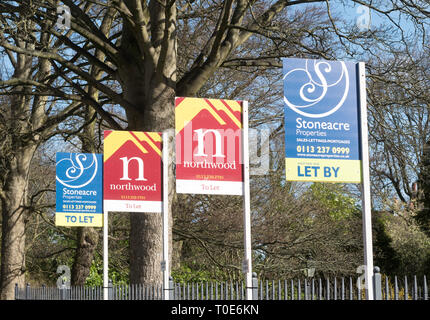A row of estate agents To Let signs, Oakwood, Leeds, West Yorkshire, England, UK - Stock Image
