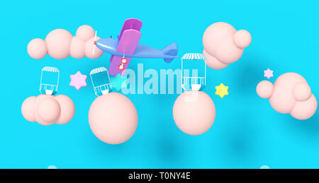 3D Render Illustration. Yellow airplane in the clouds on a blue background. - Stock Image