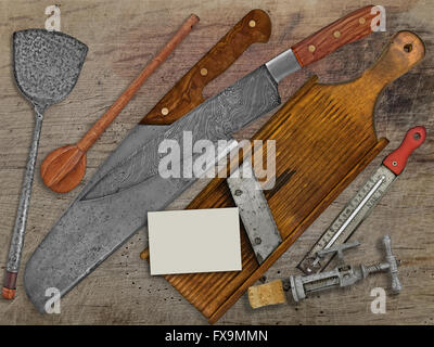 vintage set for cooking over wooden table, space on business card for your text - Stock Image