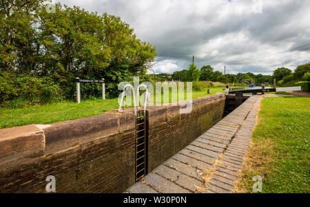 Lock 58, The Tardebigge Top Lock on the Worcester and Birmingham Canal, Worcestershire - Stock Image