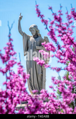 Cemetery statue seen through vibrant spring blossoms at Historic Oakland Cemetery in Atlanta, Georgia. (USA) - Stock Image