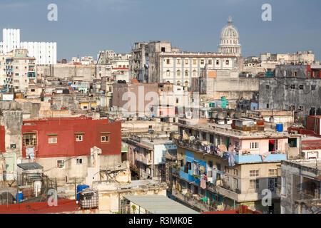 Cuba, Havana. Overview of city neighborhood and capitol dome. Credit as: Wendy Kaveney / Jaynes Gallery / DanitaDelimont.com - Stock Image