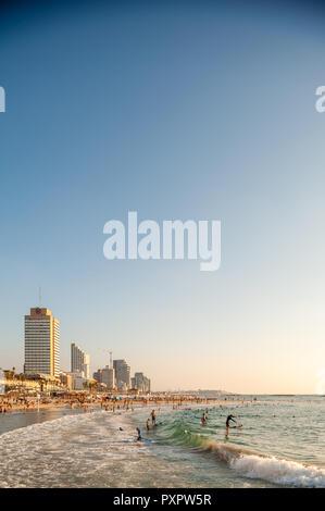 Israel, Tel Aviv - 10 September 2018: Cityscape of Tel Aviv at the seashore - Stock Image