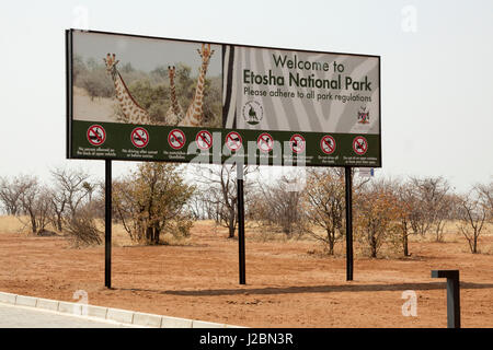Africa, Namibia, Etosha National Park. Welcome sign at park entrance. Credit as: Wendy Kaveney / Jaynes Gallery - Stock Image