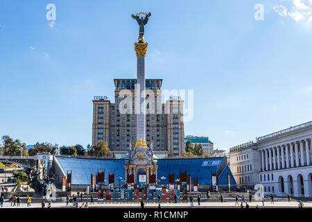 Independence Square, maidan nezalezhnosti,city center Kiev, Ukraine 06.11.2018 - Stock Image