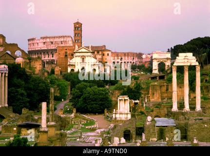 Rome Forum Romanum sunset - Stock Image