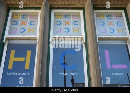 Window vinyl stickers, Handsworth Community Library - Stock Image