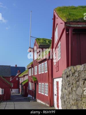 Grass roof houses in Torshavn Faroe Islands - Stock Image