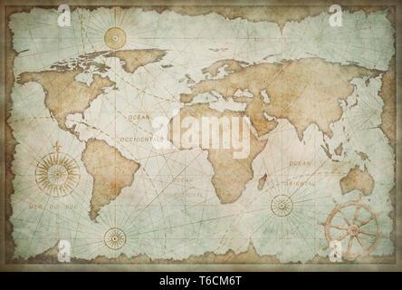 Medieval worn world map vintage stylization - Stock Image