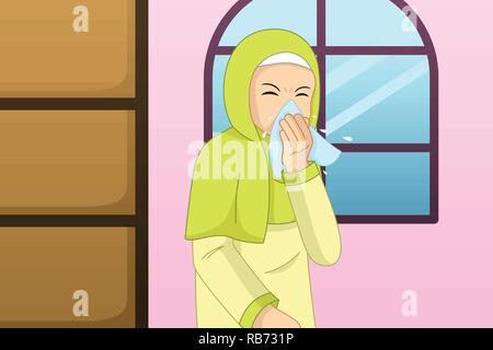 A vector illustration of Muslim Woman Sneezing Into a Tissue - Stock Image
