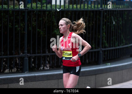 Elite Female Athlete, Natasha Cockram running for Great Britain, in the 2019 London Marathon.  She went on to finish 21st, in a time of 02:40:31 - Stock Image