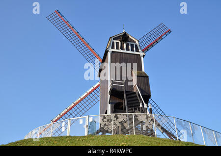 Sint-Janshuismill in Bruges, Belgium. The only working mill of the four Bruges windmills still in existence. - Stock Image