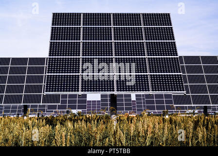 Solar trackers, photovoltaic device that orients a payload toward the Sun - Stock Image