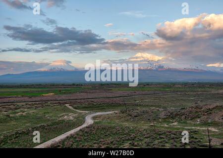 Mount Ararat in Eastern Turkey taken from Armenia in April 2019rn' taken in hdr - Stock Image