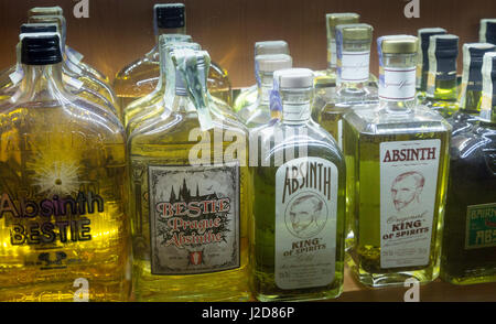 Czech Republic, Prague. Selection of absinthe in store window at night. Credit as: Wendy Kaveney / Jaynes Gallery - Stock Image
