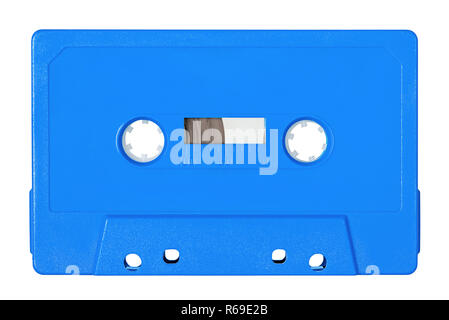 Retro bue audio tape isolated on white background - Stock Image
