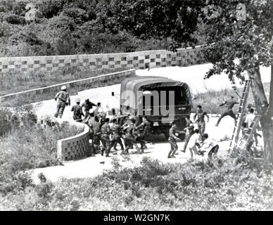 Panmunjon, Korea. Tree pruning incident 18 August 1976, at the Joint Security Area (Panmunjon) within the Demilitarized Zone separating Norht Korea and Sourh Korea. In this incident, two UNC guard officers of the US Army, Major Arthur G. Bonifas and 1st Lt. Mark T. Barrett, were hacked to death by a gang of more than thirty North Korean Security Guards. Some of the North Korean Guards got axes that the KSC workmen were using to prune the tree and used them on the UNC Guards which resulted in the deaths of the two US Army Officers - Stock Image