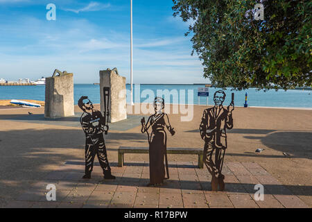 The Portrait Bench,Jamie Clark (Bearer of the Olympic Torch),Dame Vera Lynn,Ian Fleming,Depicting People who have had infuence on the Dover Community, - Stock Image