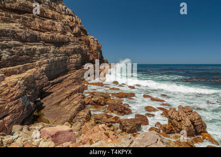 View at Cape point with Cape of good hope and ocean, Cape point, South Africa - Stock Image