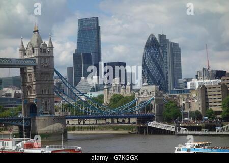 London City Skyline, Tower Bridge, River Thames, London UK - Stock Image