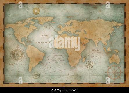 Ancient world map vintage stylization - Stock Image